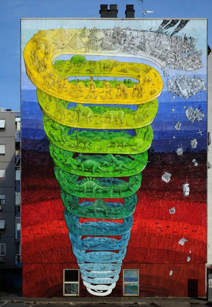 Spirale della storia della Terra, murale di Blu a Roma